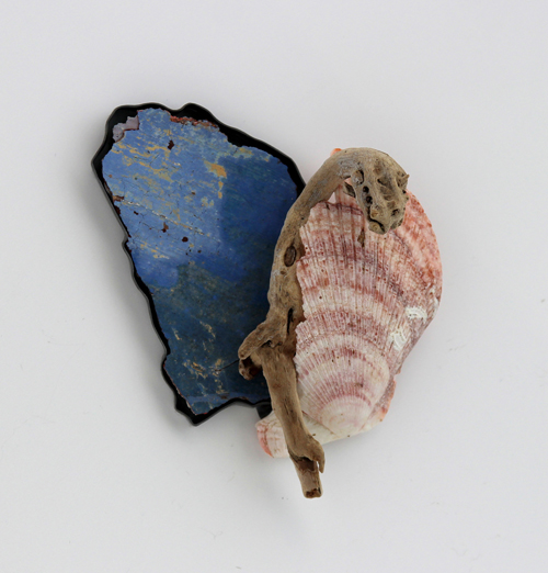 , brooch, 2016, silver, patina, paint, wood, shell