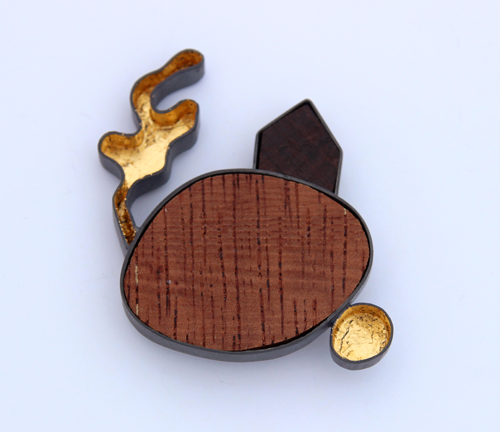 DESERT PATH, brooch, silver,patina, wood, gold leaf, 0 mm, 2016