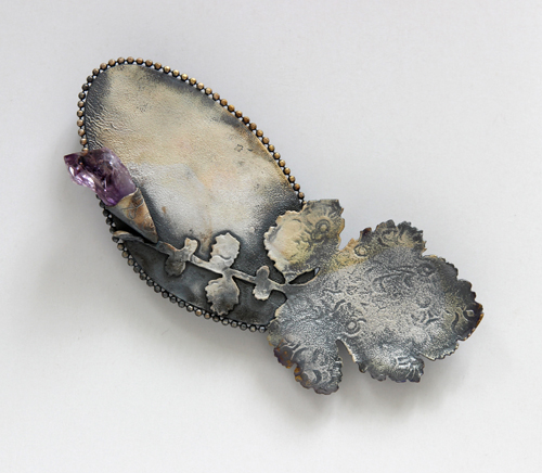 LETTERS FROM THE ISLAND, brooch, 2015, silver, patina, amethyst