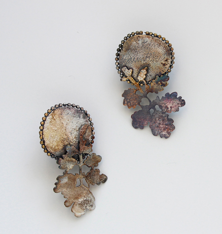 LETTERS FROM THE ISLAND, earrings, 2015, silver, patina