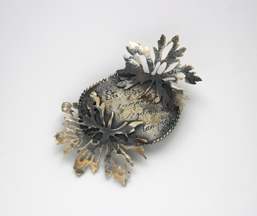 LETTERS FROM THE ISLAND, brooch, 2016, silver, patina, 0 x 0 mm