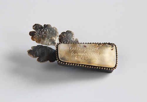 LETTERS FROM THE ISLAND, brooch, 2012 silver, patina, 70 x 50 mm