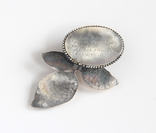 LETTERS FROM THE ISLAND, brooch, 2012 silver, patina, 70 x 55 mm