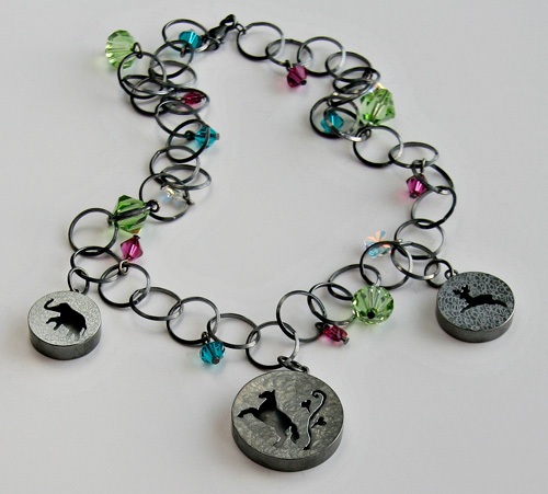ONCE UPON A TIME, necklace, silver, patina, Swarovski chrystals, 2008