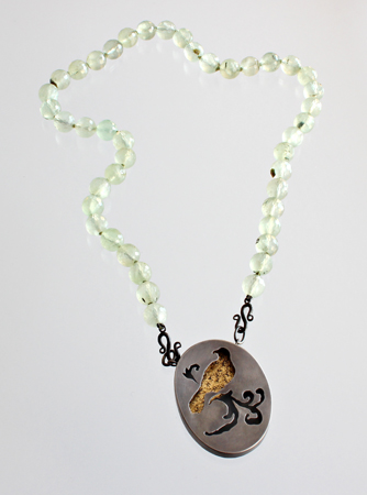 ONCE UPON A TIME, necklace, 2011, silver, patina, leaf gold, prehnite