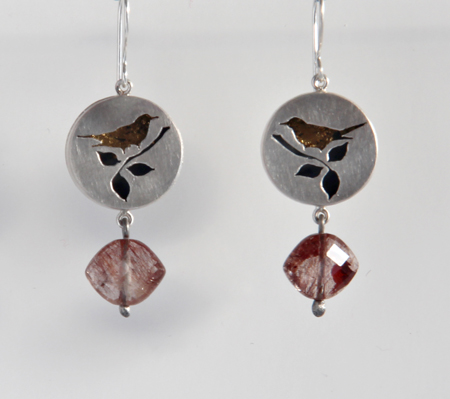 ONCE UPON A TIME, earrings, 2011, silver, patina, leaf gold, quartz