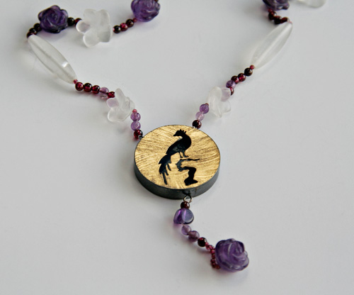 ONCE UPON A TIME, necklace, silver, patina, amethyst, quartz, garnet, leaf gold, 2008