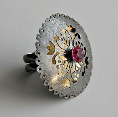 ONCE UPON A TIME, ring, silver, patina, ruby, leaf gold, 45 mm, 2008