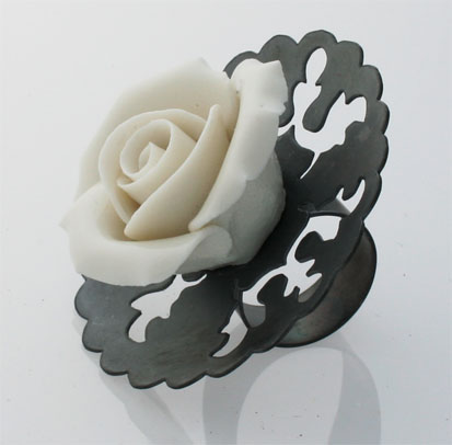 ONCE UPON A TIME, ring, silver, patina, porcelain, 80 mm, 2008