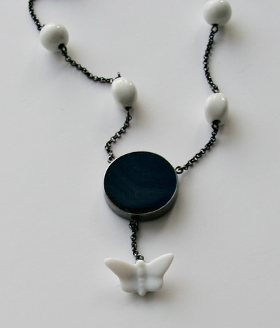 ONCE UPON A TIME, necklace, silver, patina, porcelain, agate, 2008