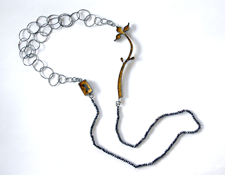 A LEPIDOPTERIST'S DREAM, necklace, 2011, silver, patina, leaf gold,  spinel