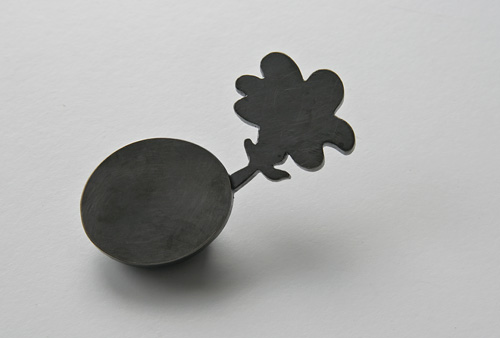 UNKNOWN PATH, brooch, silver, patina, 60 mm, 2008