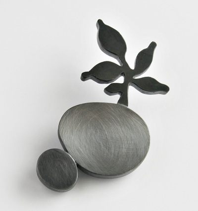UNKNOWN PATH, brooch, silver, patina, 68 mm, 2009