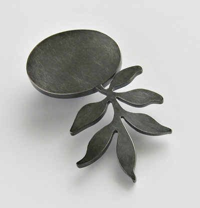 UNKNOWN PATH, brooch, silver, patina, 70 mm, 2008