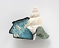 Barents Sea, brooch, 2015, silver, patina, paint, shell, stone
