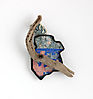 , brooch, 2016, silver, patina, paint, ceramic, wood