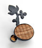 DESERT PATH, brooch, silver, patina, wood, leaf gold, 57 mm, 2009
