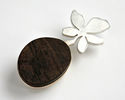 DESERT PATH, brooch, silver, wood, 80 mm, 2009