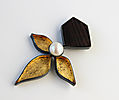 DESERT PATH, brooch, silver,patina, wood, gold leaf, freshwater pearl, 0 mm, 2016