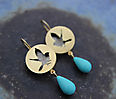 BIRDS OF A DISTANT ISLAND, earrings, gold plated silver, patina, turquoise