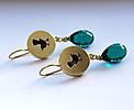 BIRDS, earrings, gold plated silver, patina, glass