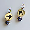 SWALLOW, gold plated silver, patina, freshwater pearl