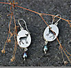 DEER, earrings, silver, patina, freshwater pearls