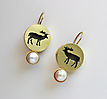 DEER, earrings, gold plated silver, patina, freshwater pearls