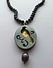 NIGHT BIRD, necklace, silver, patina, gold leaf, freshwater pearls